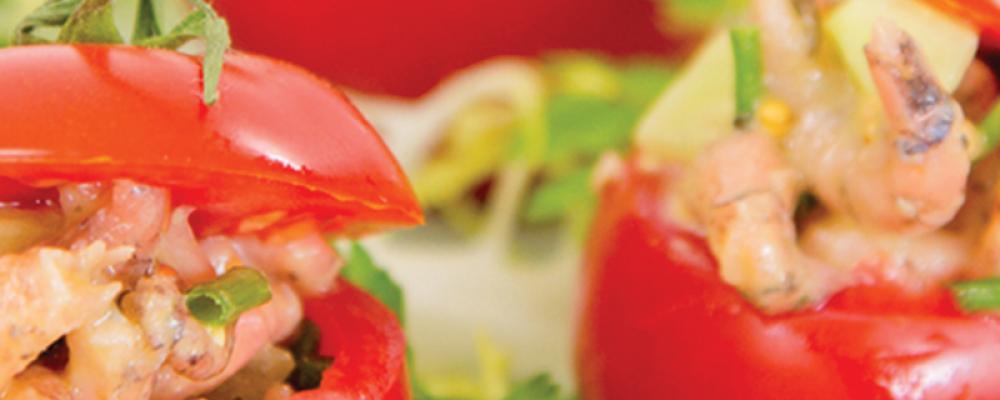 Gevulde tomaatjes met Hollandse garnalen
